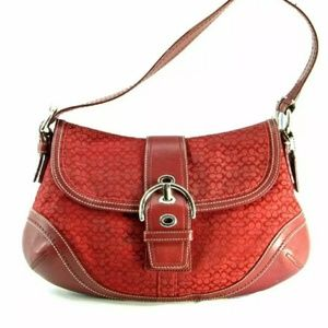 SOHO COACH Red Mini Buckle Flap Canvas Bag. NEW